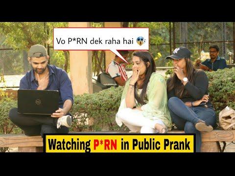 Watching P*RN IN PUBLIC PRANK   HILARIOUS REACTION🤣  PRANKS IN INDIA   PRANKS 2019