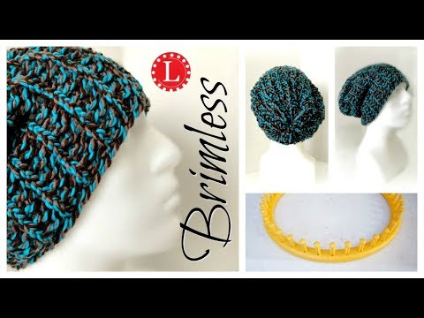 ee1cc312c10 LOOM KNITTING Hat for Beginners - Brimless Slouchy (On a Round Loom).  LoomaHat.com