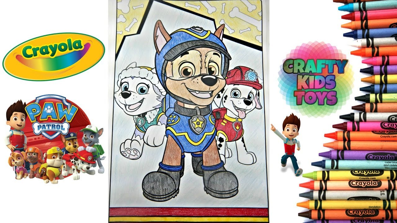 Paw Patrol Crayola Giant Coloring Page Everest Chase Marshall Youtube