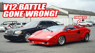 *V12 BATTLE GOES WRONG* LAMBORGHINI COUNTACH ALMOST CRASHES TO BEAT MERCEDES S600 STREET RACING!!!