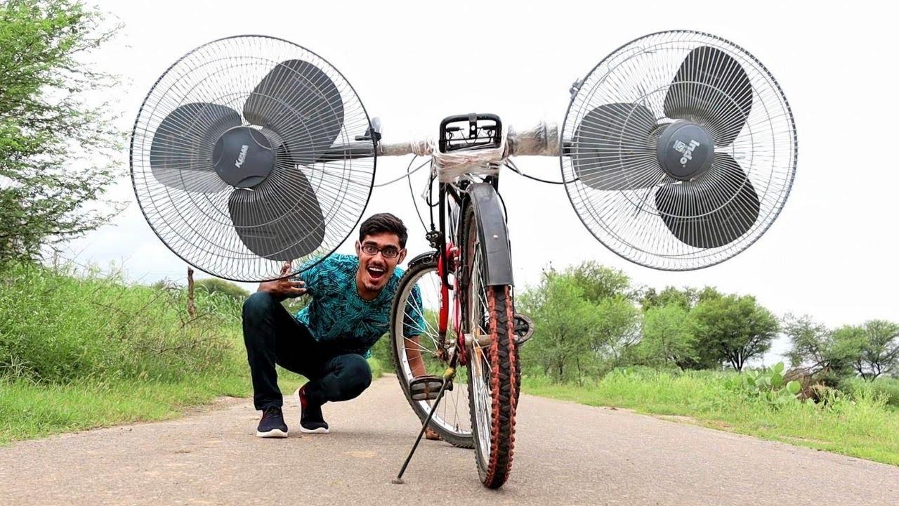 Download Dual-Fan Powered Air Bicycle   क्या 2 फर्राटा पंखों की हवा से साइकिल चल पायेगी? Awesome Results
