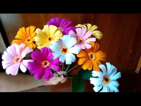 Papercraft Paper flowers - Zinnia (Flower # 54)