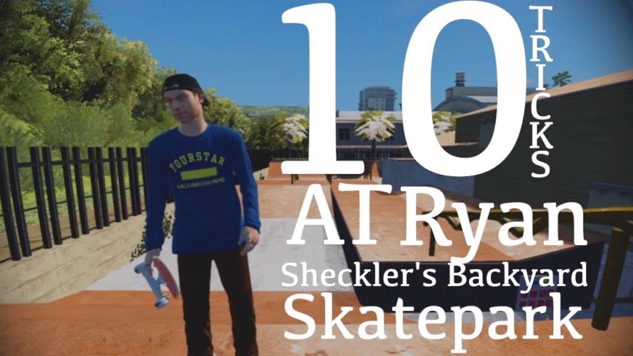 10 Tricks At Ryan Sheckler's Backyard Skatepark - YouTube