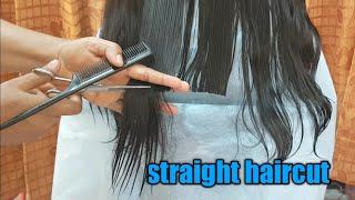 Easy straight haircut/How t๐ cut hair straight/straight cut for long hair/amazing long hair cutting