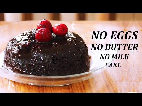Eggless Chocolate Cake In Microwave || No Butter, No Milk, No Eggs Vegan Chocolate Cake