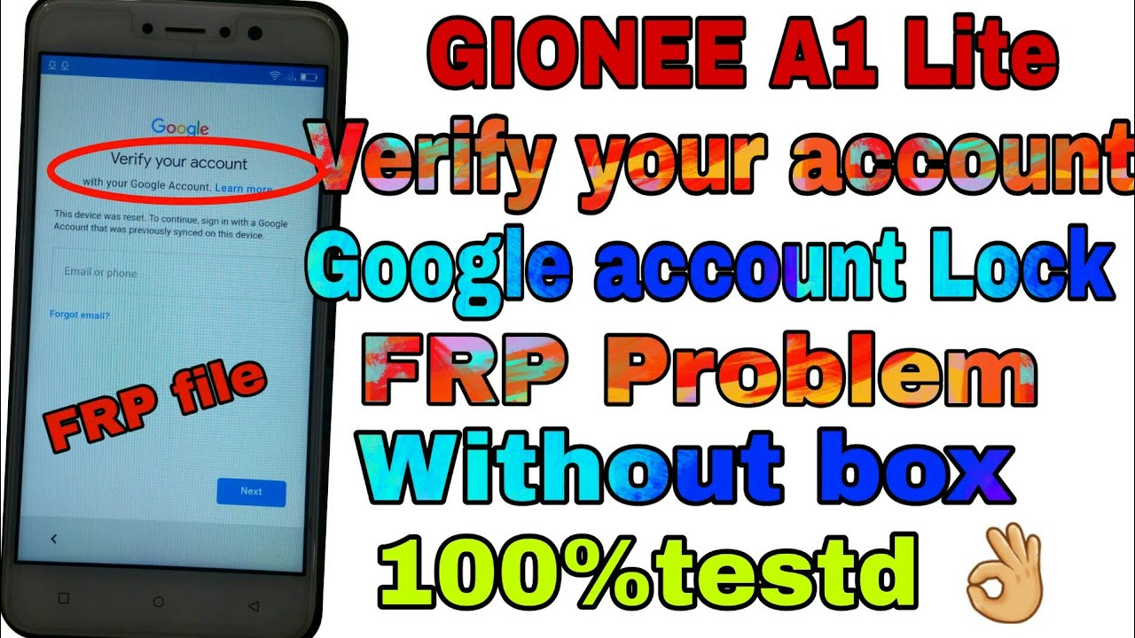 GIONEE A1 Lite Verify your account Google account Lock FRP Problem Without  box 100%testd