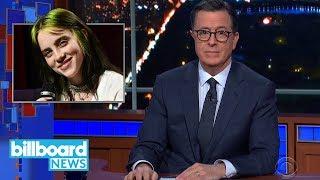 Stephen Colbert Pokes Fun at Billie Eilish's Fake James Bond Theme Song | Billboard News