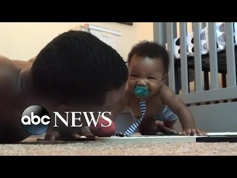 ae59842c Adorable baby does push-ups with his dad - YouTube