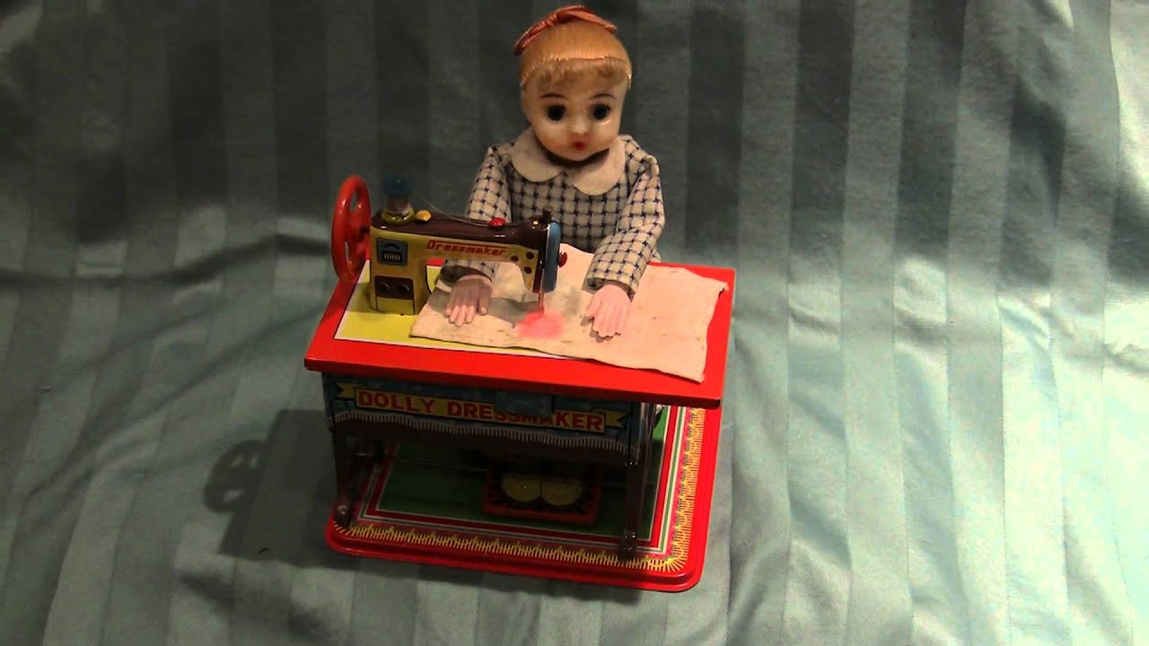Vintage Tin Toy Sewing Dolly Seamstress By Toy Nomura Of Japan