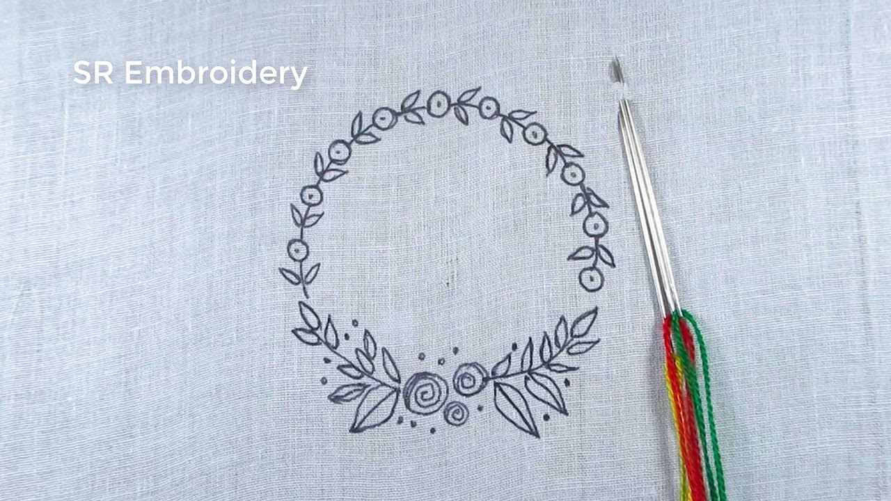 Hand Embroidery Easy Circle Embroidery Tutorial,Round Floral Embroidery Design,Circle Embroidery