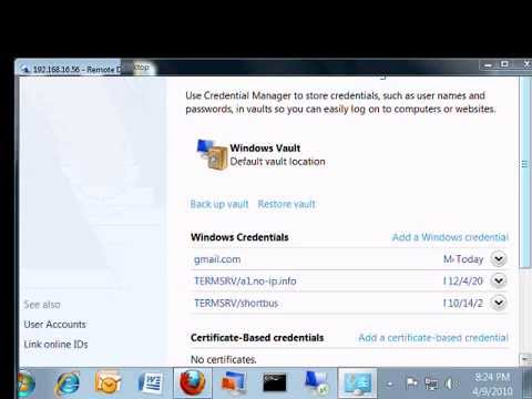 How To Setup Credential Manager In Windows 7