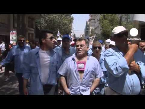 Greek state workers protest against privatisation