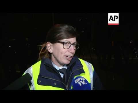 German football team bus remains at blast scene