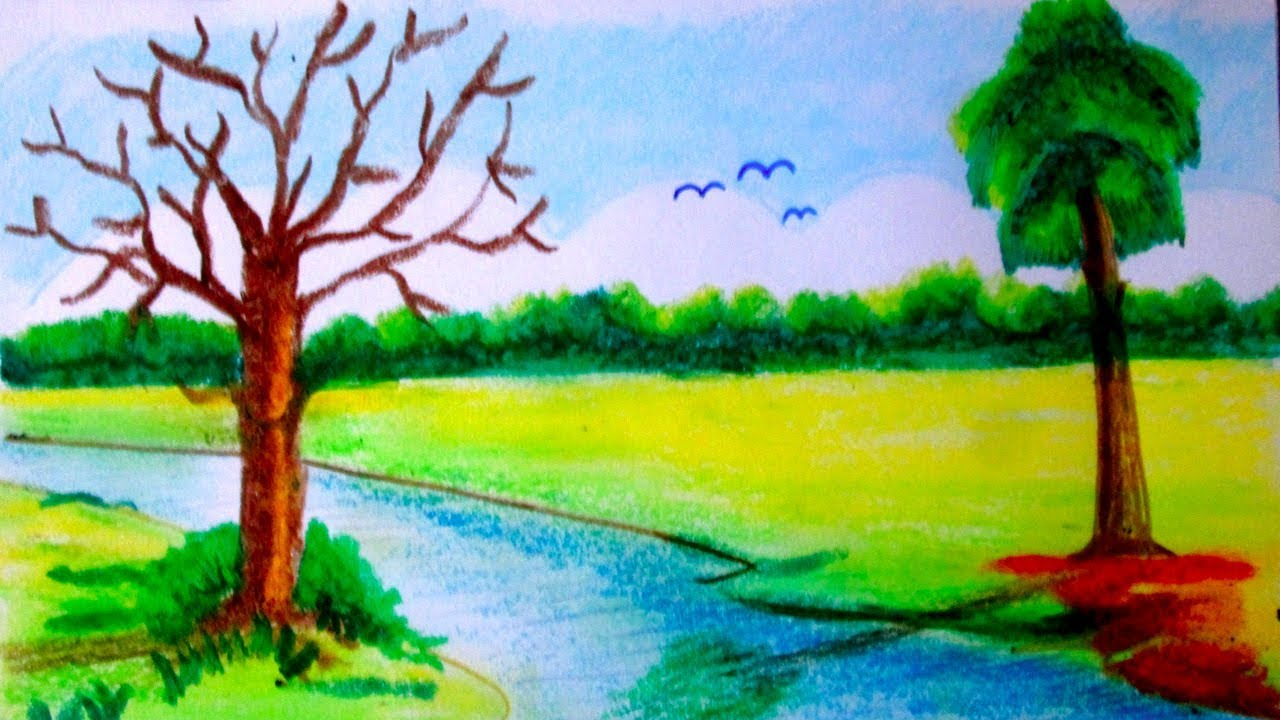 how to draw riverside village scenery nature scenes art beside