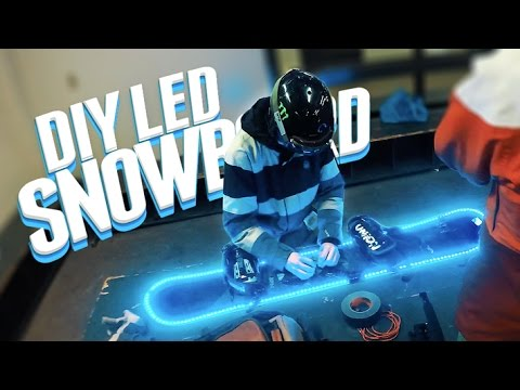 DIY LIGHT UP SNOWBOARD!! (Solar RGB Leds)