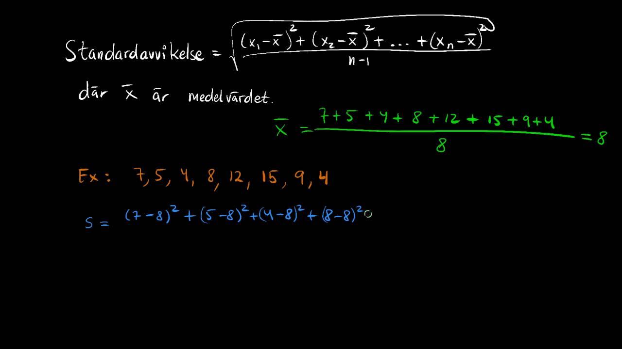 Standardavvikelse - Statistik - Steg 2