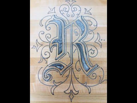 Monogrammed Epoxy inlaid cutting board