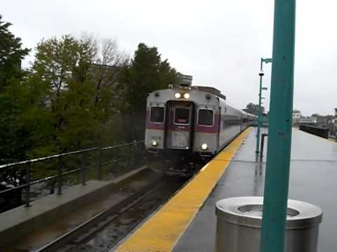 MBTA Commuter Rail Arriving At Lynn On Rainy Day.
