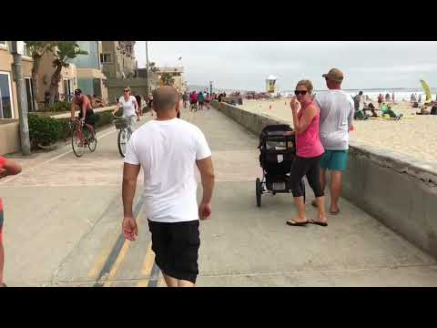 Longboarding down Pacific/Mission beach boardwalk San Diego ca-2