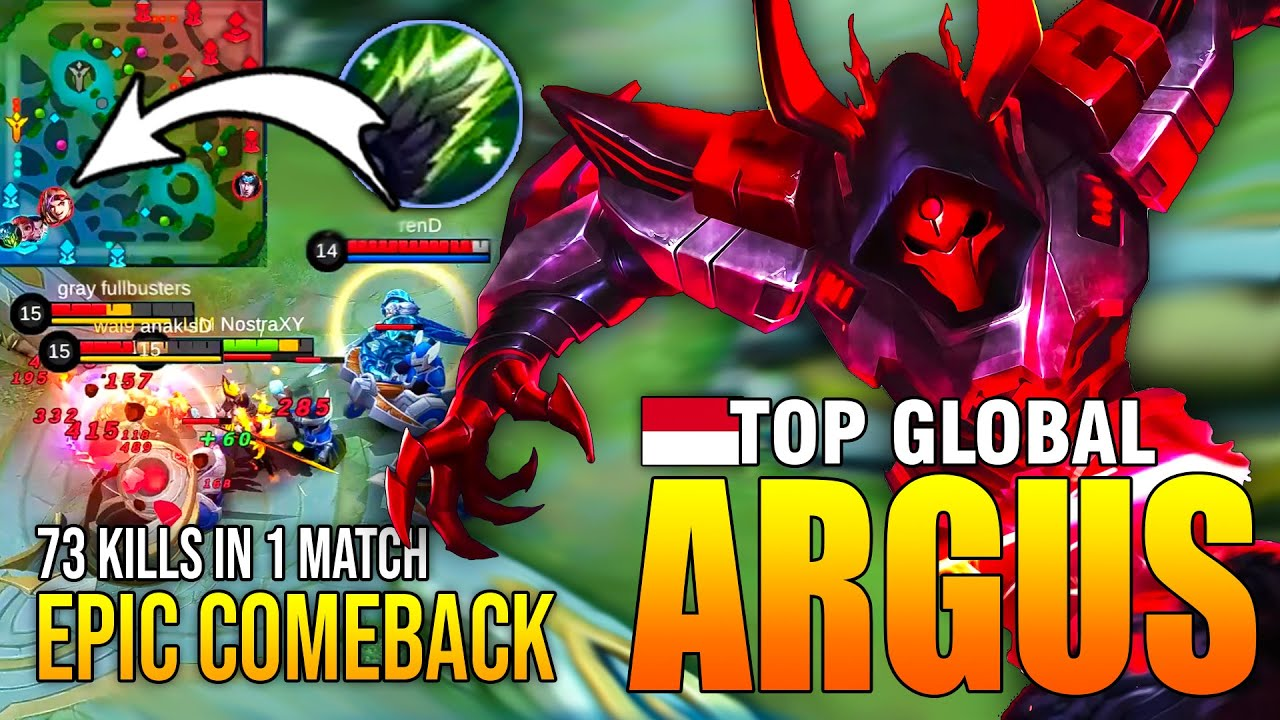 EPIC COMEBACK ARGUS BUILD 2020 - TOP GLOBAL ARGUS NostraXY - MOBILE LEGENDS