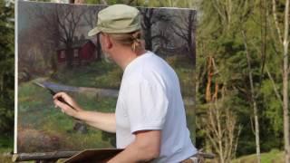 På jobb med maleren Jonny Andvik, mai 2017