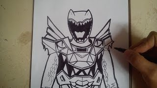 HOW TO DRAW POWER RANGER DINO SUPER CHARGE - RED / como dibujar power ranger dino charge - rojo