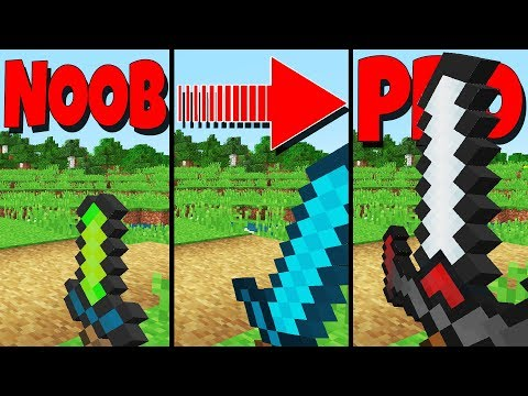 The Differences Between NOOB and PRO Weapons (Minecraft 1.13 Datapack)