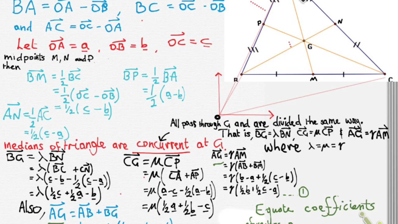Proof of the Centroid of a triangle using vectors - YouTube ec9efd9acb