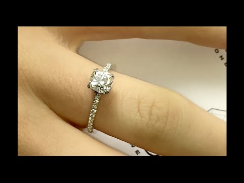 1 Ct Cushion Diamond Engagement Ring In Micropave Setting Youtube