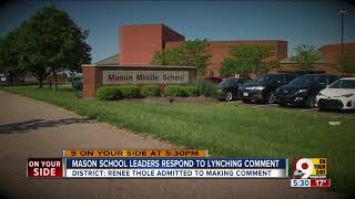 Mason school leaders respond to teacher's lynching comment