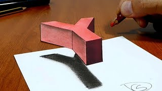 3D Trick Art on Paper Floating letter Y