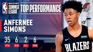 Anfernee Simons Catches Fire and Drops 35 Points (6-7 3PT FG) For Portland | July 9, 2019