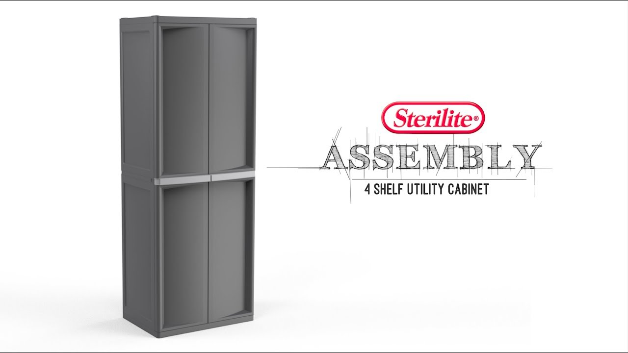 shelf shelving with september handles unit sterilite putty v cabinets storage platinum cabinet utility