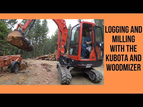 Logging and Milling with the Kubota and Wood-Mizer - YouTube