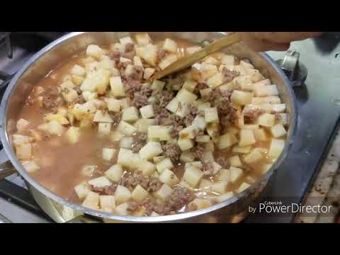 Home Made Picadillo Ground Beef Or  Potato Soup