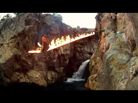 dreaming of spinning fire on a fire slackline within a dream on fire