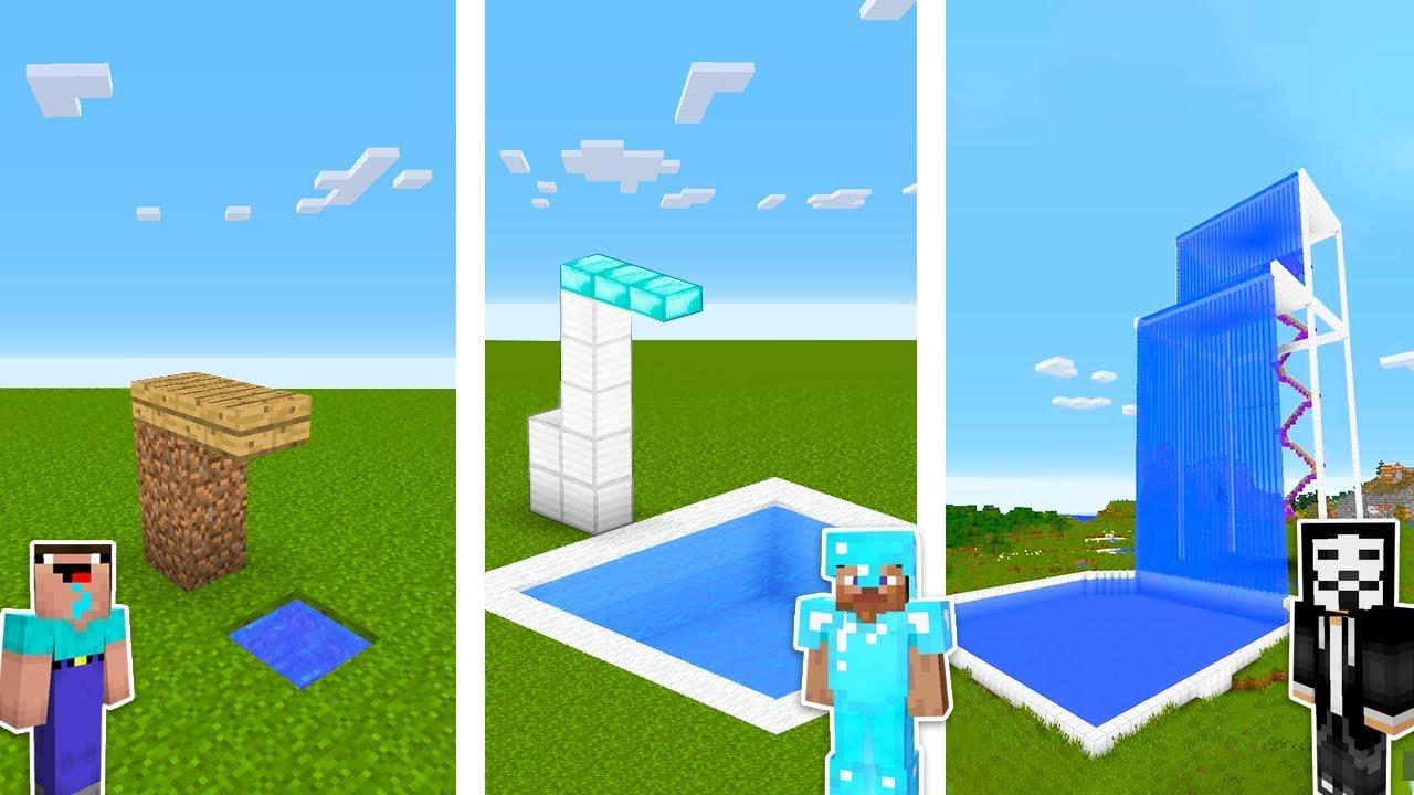 Minecraft NOOB vs PRO vs HACKER : SWIMMING POOL CHALLENGE in minecraft / Animation