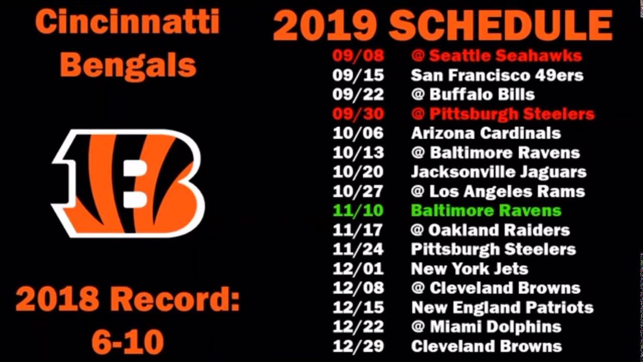49ers 2020 Schedule.Bengals 2019 2020 Schedule Youtube