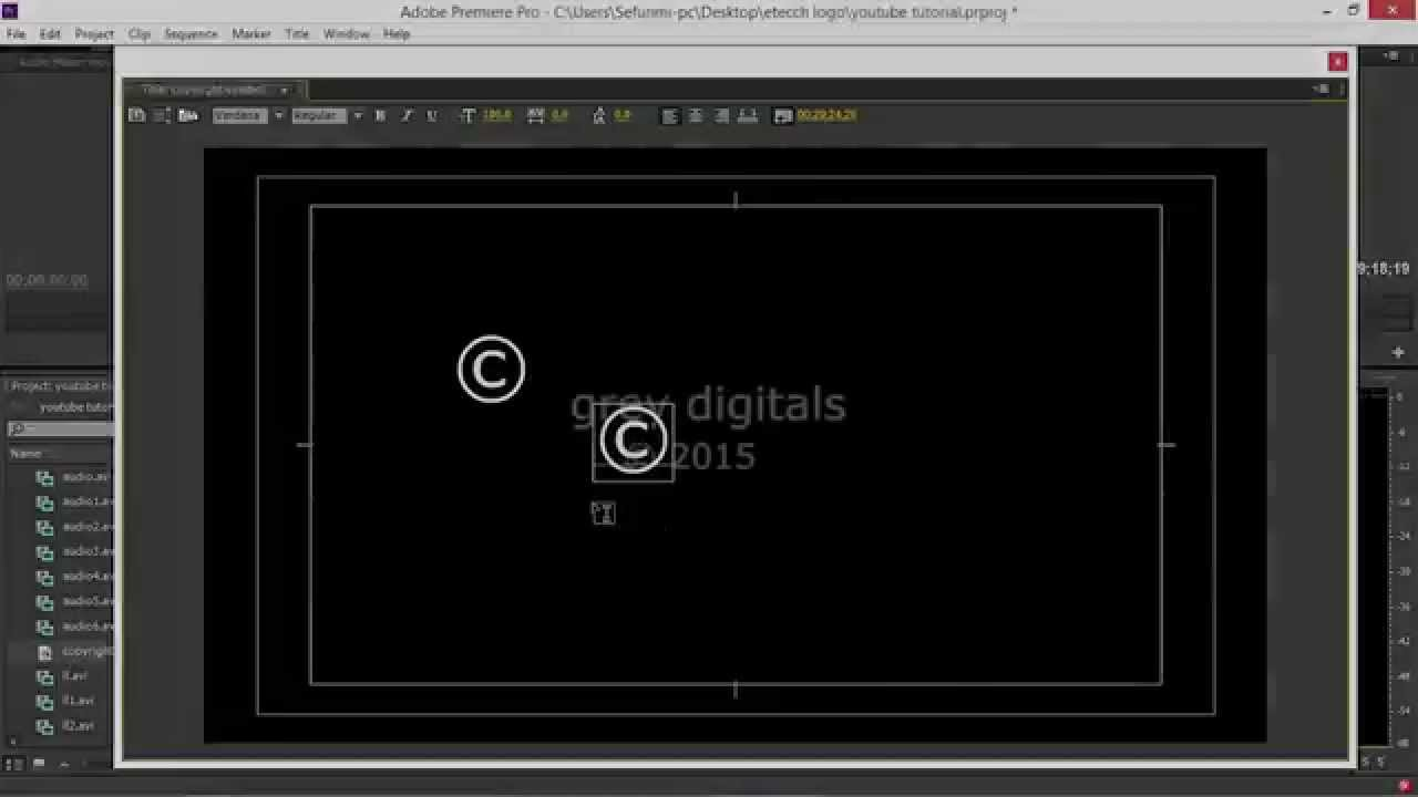 How To Write The Copyright Symbol In Adobe Premiere And After