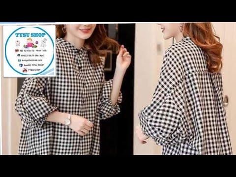 Day Cắt May Áo Sơ Mi Nữ Hàn Quốc Lai Lệch | tysu shop|sewing diy clothes| 728