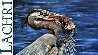 Speed Painting Great Blue Heron oil painting - Time Lapse Demo by Lachri