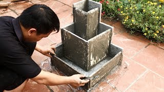 DIY - Small World in the Garden - Fish Pond and Bonsai Pots - Creative Cement Ideas