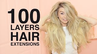 100 LAYERS of Hair Extensions | Milk + Blush