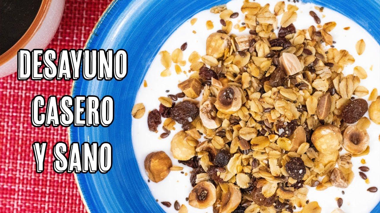 Granola Casero o Muesli - Receta de Desayuno Saludable de Avena y Frutos Secos