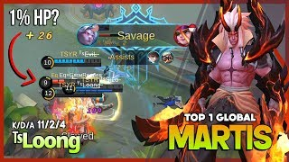 1% HP for Savage? of Course, I Can! ᵀˢL̶o̶o̶n̶g̶ Top 1 Global Martis ~ Mobile Legends