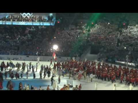 Team Canada enters the stadium at Vancouver 2010 Olympics Opening Ceremonies