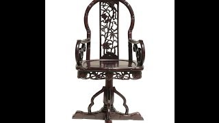 Chinese Redwood Carved Swivel Armchair Ss525