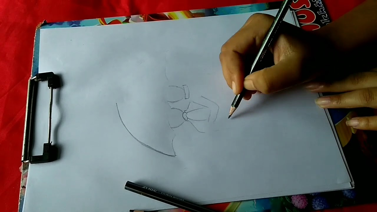 How to draw sketch of couple in umbrella