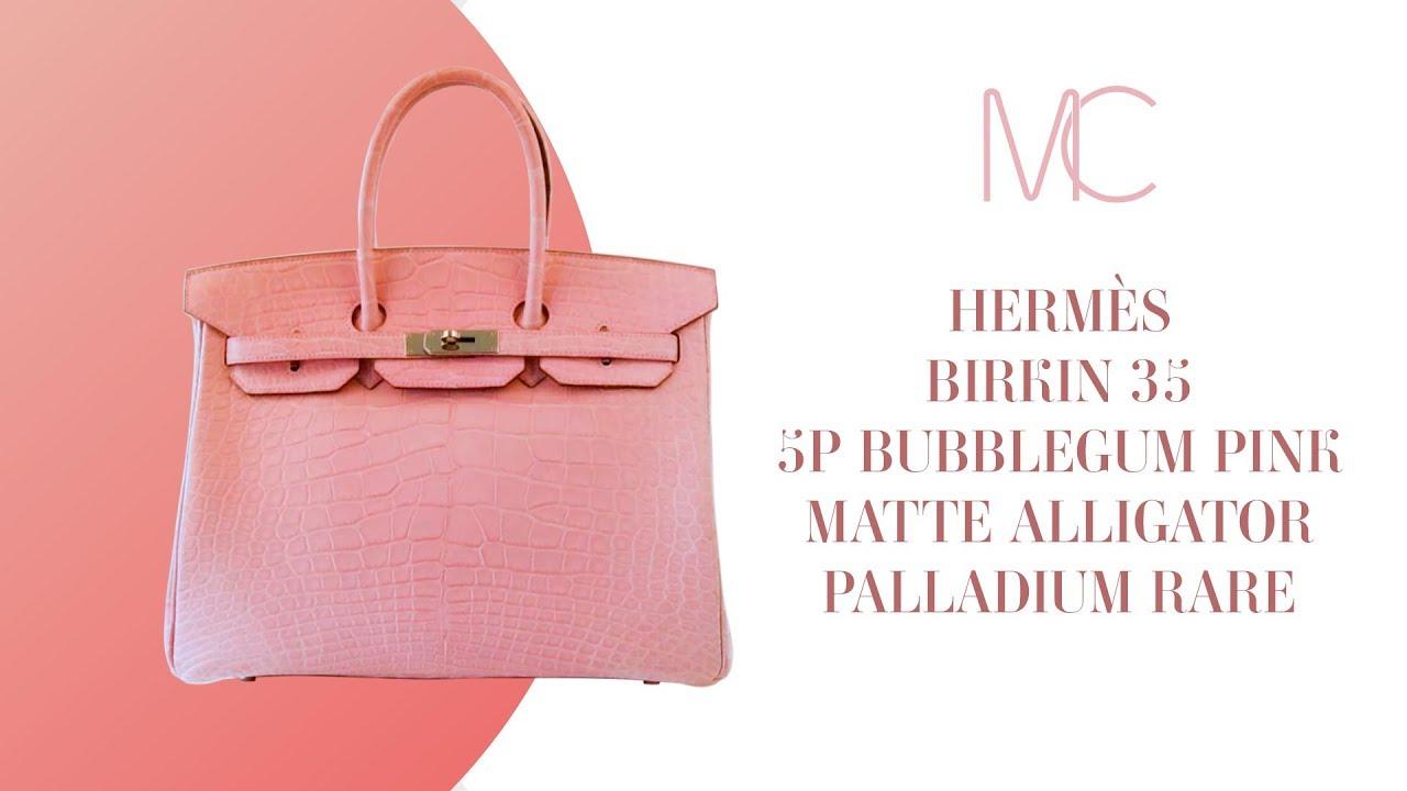 05e9a22670f MIGHTYCHIC • HERMÈS Birkin 35 Bag 5P Bubblegum Pink Matte Alligator  Palladium Rare
