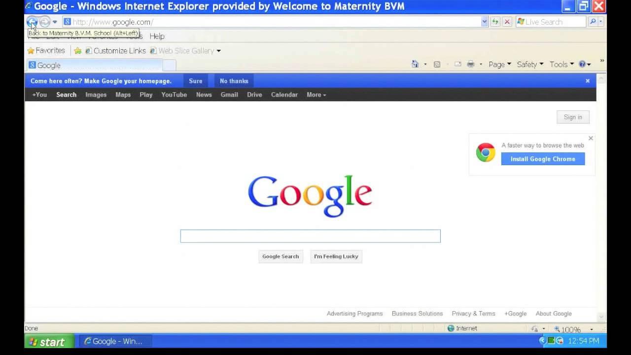 Common Icons & Address Bar In Internet Explorer